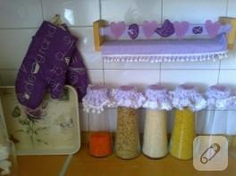 Kumaş mutfak takımı ve dikiş detayları