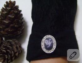 Audrey Hepburn aksesuarlı, siyah dantel kaplı, kaşe eldiven