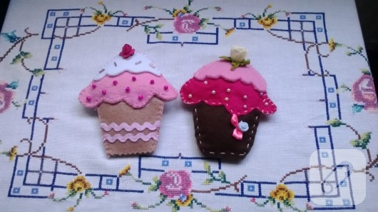 Keçe cupcake magnetler