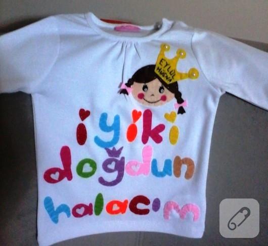 Keçe işlemeli çocuk tişörtü