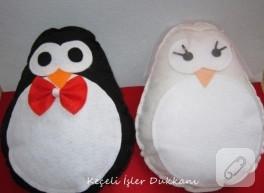 Keçeden gelin-damat penguen yastıklar