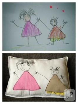 Çocuğunuzun çizimlerini yastık yapın!