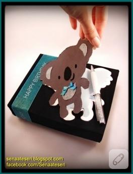 Koalalı doğum günü hediye kutusu (kutu kaplama)