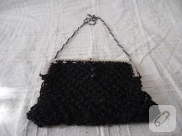 Makrome siyah minik çanta