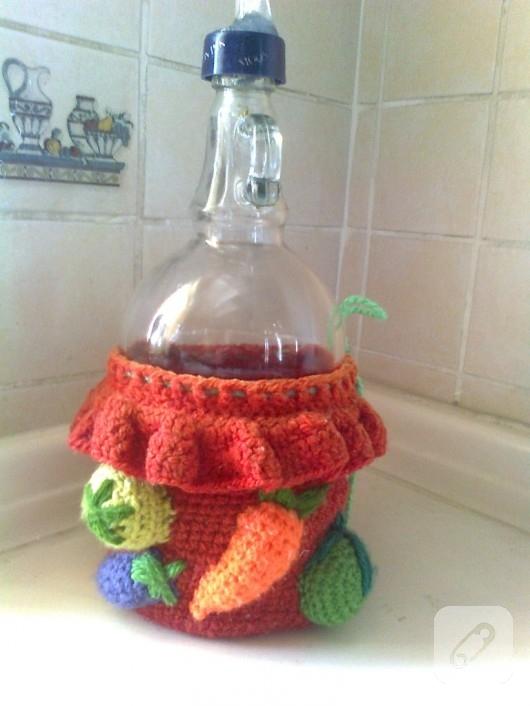örgü ile şişe süsleme