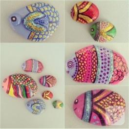 Rengarenk küçük balıklar – taş boyama