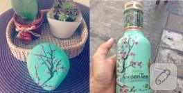 Mint yeşili, çiçek desenli taş boyama örneği