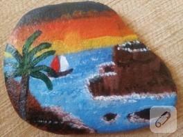 Yaz temalı taş boyama örneği