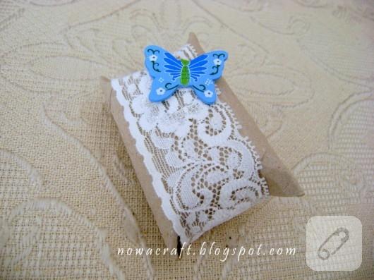 Tuvalet kağıdı rulosundan hediye paketi yapımı