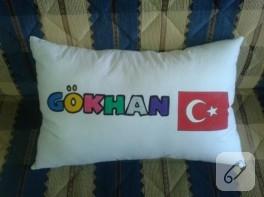 Gökhan'ın isim yastığı (kumaş boyama)