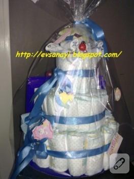 Erkek bebek hediyesi bez pasta