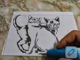 Cam gravür kedili pano