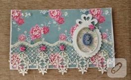 El yapımı çiçekli kart
