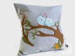 Baykuş aplikeli gri yastık