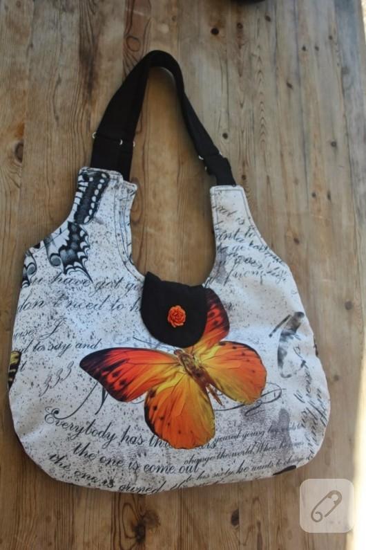 kelebekli kumaş çanta
