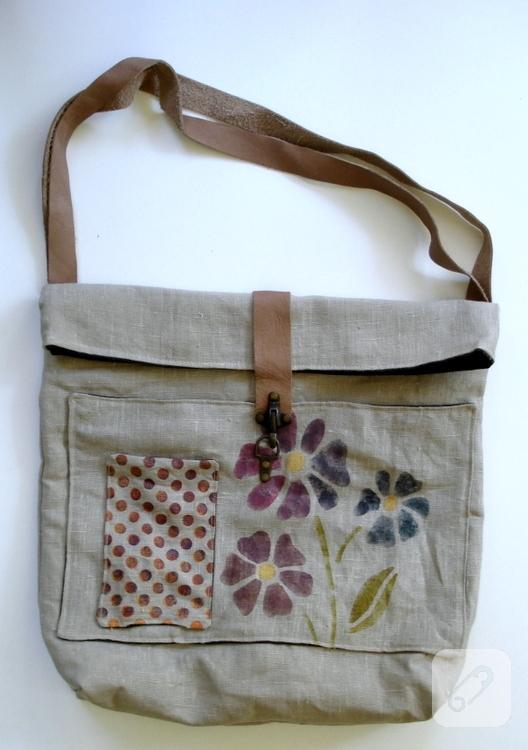 Kumaş boyama keten çanta
