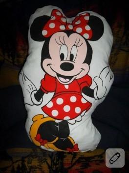 Kumaş boyama; çift taraflı Minnie Mouse yastık