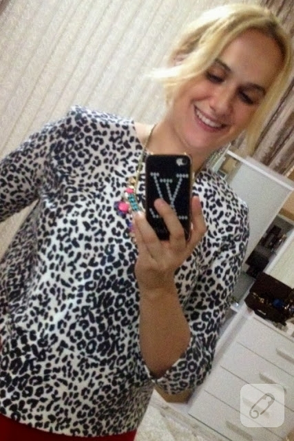 Leopar desenli bluz