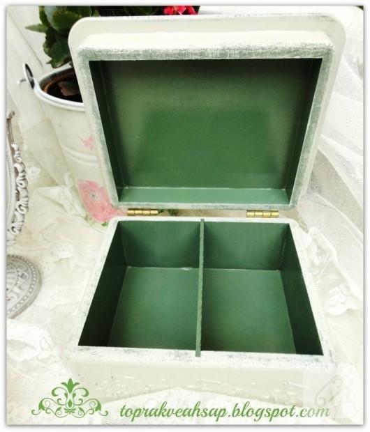 peçete dekupajlı ahşap kutu