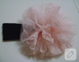 Dantel çiçekli bebek saç bandı