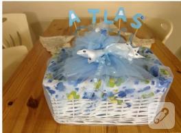 Bebek hediye sepeti (sepet süsleme)