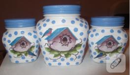 Puantiyeli cam kavanozlar (cam boyama)