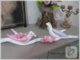 Dekoratif kumaş kuş biblolar