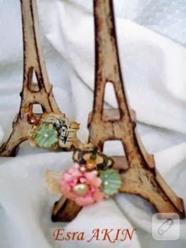 Romantik süslemeli Eiffel kuleleri