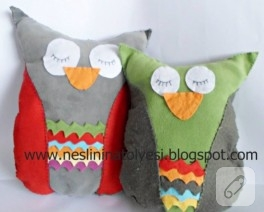 Keçeden sevimli baykuş yastıklar