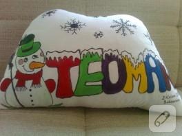 Kış temalı kumaş boyama isim yastığı