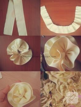 Krem rengi kumaş çiçek yapımı