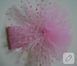 Puantiyeli pembe bebek saç bandı