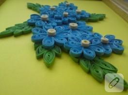 Mavi çiçekler – quilling duvar süsü