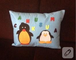 Keçeden penguenli yastık