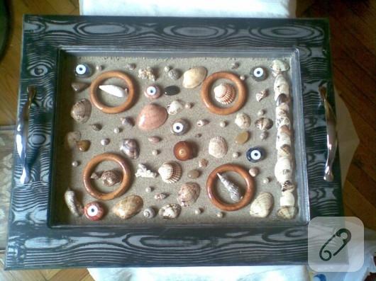 Deniz kabuklarıyla dekoratif süsleme