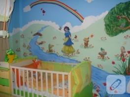Pamuk Prenses temalı duvar boyama