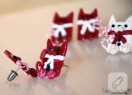 Fimodan yılbaşı kedili küpeler