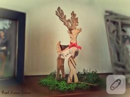 Vintage yılbaşı süsü – kartondan geyik yapımı