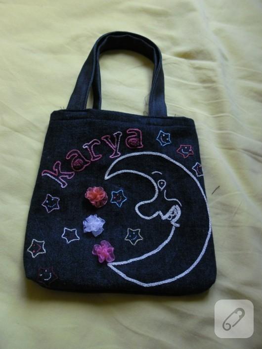 Nakışlı kot çanta