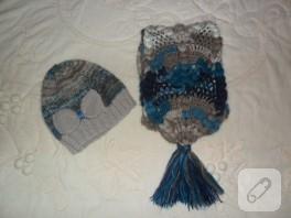 Batik atkı ve bere takımı
