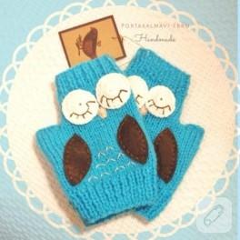 Baykuş aplikeli parmaksız eldiven