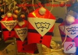 Tuvalet kağıdı rulolarından Noel Baba yapımı
