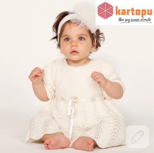 beyaz yün örgü kız bebek elbisesi nasıl yapılır