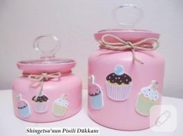 Kavanoz yenileme – pembe cupcake'li kavanozlar