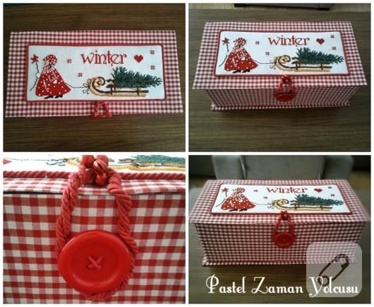 çarpı işi kış temalı kutu yapımı ve kutu süsleme