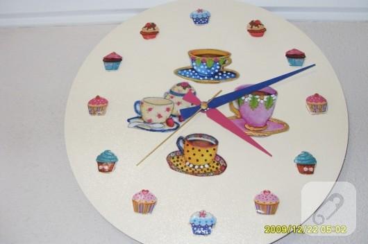 Cupcake dekupajlı duvar saati