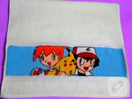 Etamin işleme Pokemon havlu kenarı