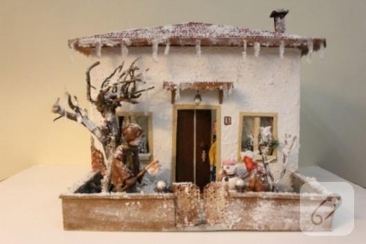 karlı ev minyatür yapımı