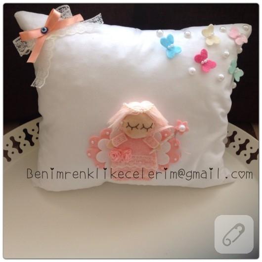 Melekli bebek takı yastığı