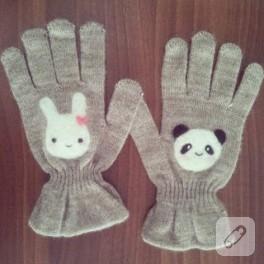 Keçe aplikeli sevimli eldivenler